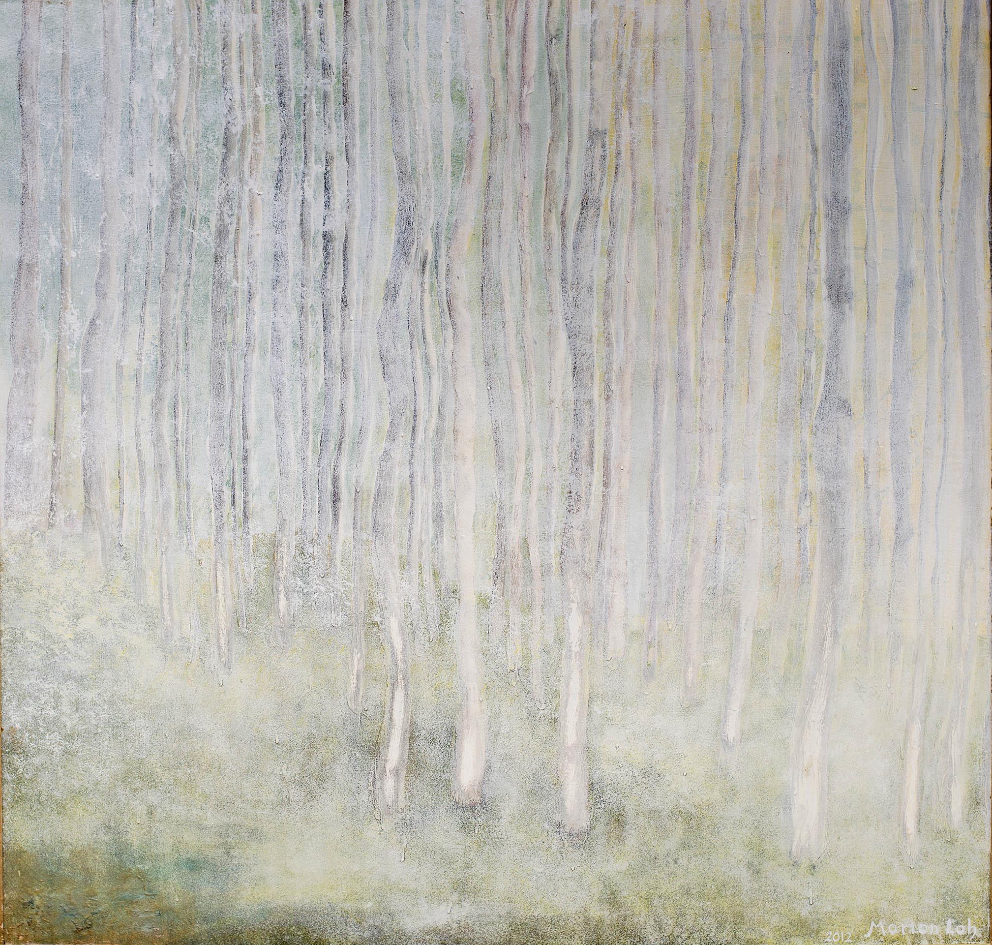 Birkenwald 2012, 120x120 Acryl auf Holzplatte
