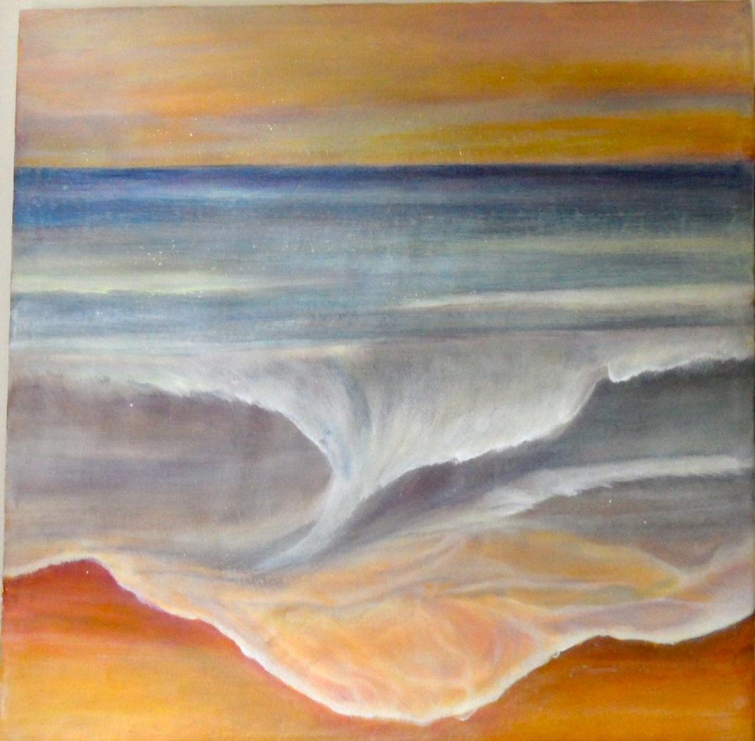 Wogenwellen  2012 - 120x120 cm, Acryl auf der Picknickdecke am Meer